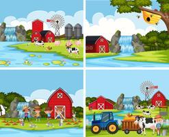 Conjunto de escenas de la granja