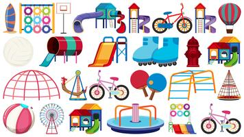 Set of playground equipment vector