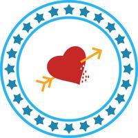 Icona della freccia di Corss cuore vettoriale