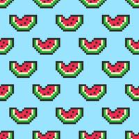 Pixel Art Melancia Slices Seamless Pattern