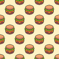 Pixel Art Cheeseburger Seamless Background