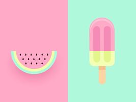 Wassermelonen-Vektor-Duo-Pastellhintergrund