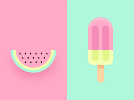 Watermelon Vector Duo Pastel Background