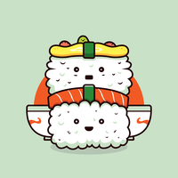 Vector de Kawaii Sushi