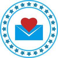 Icône de lettre d'amour de vecteur