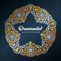 Star Arabic Frame. Islamisk design inramad av gyllene mönster. Moské dekoration element. Elegans Bakgrund med textinmatningsområde i ett centrum. Vektor illustration.