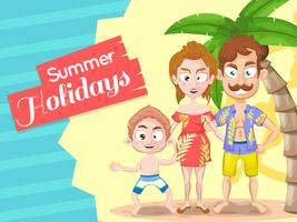 Summer holiday background with family