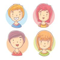 Hand Drawn Kids Face Vector