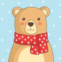 Bear With Red Scarf Vector
