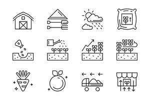 Set of flat line icons for agriculture, farming, harvest