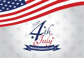 Día de la independencia del 4 de julio con letras y banderas y estrellas de fondo.