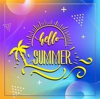 Happy Summer Party 2019. Logo vettoriale multicolore su sfondo blu scuro. Sole e iscrizione scritta a mano. Modello di etichetta stagionale brillante. Calda estate.