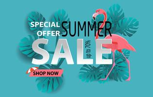 Summer sale banner with flamingo and tropical leaves background, exotic floral design for banner, banner vector illustration and design for poster card. Paper cut style, vector illustration