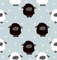 Schwarze Schafe mit nahtlosem Muster des Punktes