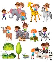 Set of kids with animal