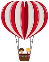 Jungen und Mädchen auf Herzballon