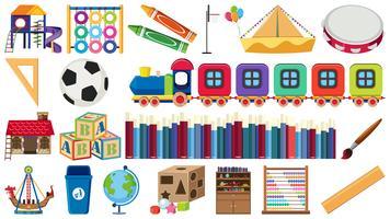 Conjunto de equipos de aprendizaje para niños.