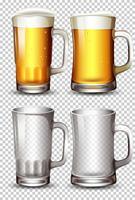 Conjunto de copo de cerveja
