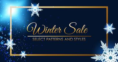 Winter sale poster design with golden frame