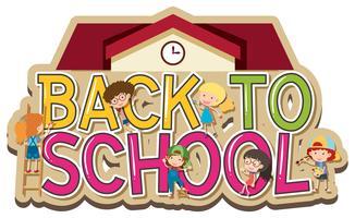 Wortdesign für zurück zu Schule mit glücklichen Kindern