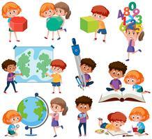 Conjunto de estudante com ferramentas de aprendizagem
