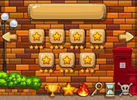 Game achtergrond sjabloon met sterren op knoppen