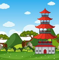 Garden scene with chinese tower in the field