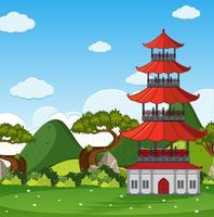 Cena de jardim com torre chinesa no campo