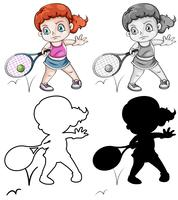 Set of female tennis player vector