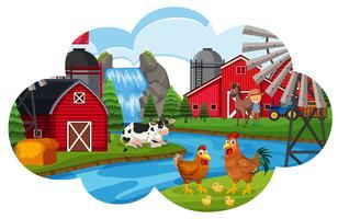 Uma cena de animais de fazenda
