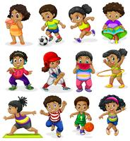 Set of african american kids vector