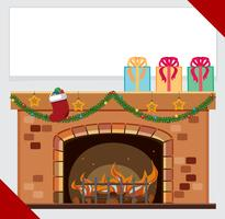 Banner template with presents on fireplace