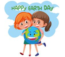 Happy earth day girls holding earth