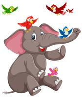 Gelukkige olifant met vogel