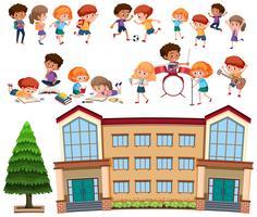 Conjunto de alumnos y colegio. vector