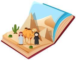 Een pop-upboek met woestijn