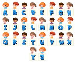 Set of children holding letters