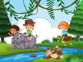 Bambini sullo sfondo della natura