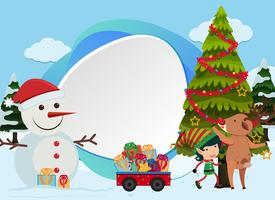 Christmas background with snowman and tree