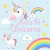Un lindo unicornio con arcoiris