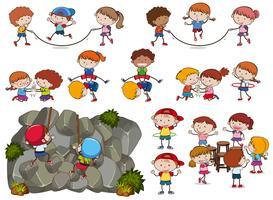 Crianças e atividades no fundo branco