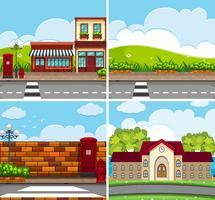 Vier Szenen mit Gebäuden und Straße