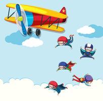 Leute, die aus einem Flugzeug springen