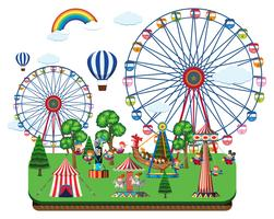 Fair scene with amusement rides