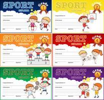 Set of sport certificate