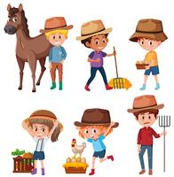 A set of farmer on white background vector