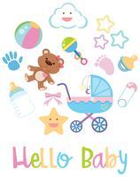 Artículos para bebé sobre fondo blanco