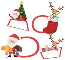 Etiquetas navideñas con santa y reno.