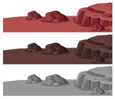 Ensemble de différents paysages de pierre