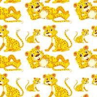 Leopard on seamless pattern vector